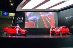 NONTHABURI - DECEMBER 1: New Mazda 2 Skyactiv car display at Tha Royalty Free Stock Photo