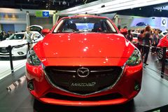 NONTHABURI - DECEMBER 1: New Mazda 2 Skyactiv car display at Tha Stock Photo