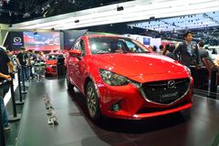 NONTHABURI - DECEMBER 1: New Mazda 2 Skyactiv car display at Tha Royalty Free Stock Photography