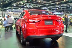 NONTHABURI - DECEMBER 1: New Mazda 2 Skyactiv car display at Tha Royalty Free Stock Images