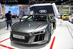 Audi R8 Coupe car Logo of Mercedes-Benz on display at Thailand International Motor Expo Royalty Free Stock Photography
