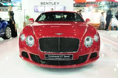 NONTHABURI - NOVEMBER 28: Bentley continental GT speed, Luxury c. Ar, on display at The 30th Thailand International Motor Expo on November 28, 2013 in Nonthaburi stock images