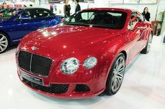 NONTHABURI - NOVEMBER 28: Bentley continental GT speed, Luxury c. Ar, on display at The 30th Thailand International Motor Expo on November 28, 2013 in Nonthaburi stock image
