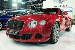 NONTHABURI - NOVEMBER 28: Bentley continental GT speed, Luxury c. Ar, on display at The 30th Thailand International Motor Expo on November 28, 2013 in Nonthaburi royalty free stock images