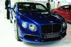 NONTHABURI - NOVEMBER 28: Bentley continental GTC V8, Luxury car. On display at The 30th Thailand International Motor Expo on November 28, 2013 in Nonthaburi royalty free stock images