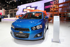 NONTHABURI - NOVEMBER 28:Chevrolet Sonic NB 1.6 car on display a Royalty Free Stock Images