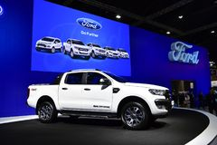 Ford Ranger Wildtrak pickups Logo of Mercedes-Benz on display at Thailand International Motor Expo Stock Photography