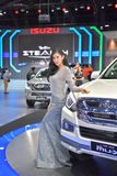 Unidentified model with Isuzu MU-X The Iconic SUV on display at The 35th Thailand International Motor Expo on November 28 stock images