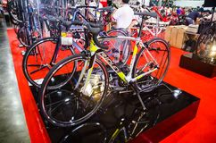 Ridley road bike in classic black pattern color displays at international Bangkok bike expo.