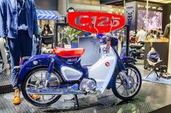 Dark blue new Honda cub 125cc. motorcycle at Bangkok motorshow 2018. Royalty Free Stock Photo