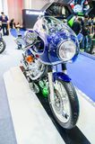 New Model classic Kawasaki SR in dark blue at Bangkok motorshow 2018. Royalty Free Stock Photos