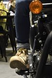Close-up Ride trial the Royal Enfield Classic 500. Nonthaburi,THAILAND - April 6, 2018 : Close-up Ride trial the Royal Enfield Classic 500, vintage to be the Stock Photo