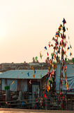Nonthaburi, Thailand-April 10, 2016 : party flags in evening at. Riverfront under Rama4 bridge, Pakkret, Nonthaburi, Thailand Royalty Free Stock Images