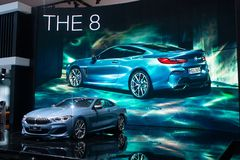 Nonthaburi , Thailand - Dec 6, 2018: BMW the 8 Series Coupe blue color in motor expo royalty free stock photography