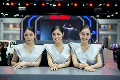 NONTHABURI, THAILAND - DECEMBER 6,2017 : Girl group model car on booth at Thailand International Motor-Expo 2018,Exhibition of veh. Icles for sale in Nonthaburi stock photography