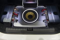 NONTHABURI, THAILAND - DECEMBER 9,2017 : View of Car Speaker,Subwoofers, and Amps show in car on booths at Thailand International. Motor-Expo 2017 stock photos
