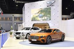 The BENTLEY exhibition booth at THE 39th BANGKOK INTERNATIONAL MOTOR SHOW 2018. Nonthaburi,THAILAND - March 30, 2018: The BENTLEY exhibition booth at THE 39th stock images