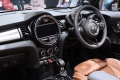 Nonthaburi,THAILAND - March 30, 2018: Inside and Console the New Mini Cooper S Convertible at BANGKOK MOTOR SHOW 2018. Nonthaburi,THAILAND - March 30, 2018 Royalty Free Stock Photos