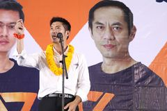 Nonthaburi ,Thailand - March 10,2019 : Mr.Thanathorn juangroongruangkit,The leader of Future Forward Party FWP during in. Interview befor raised the stage to stock photo