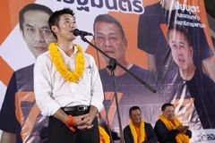 Nonthaburi ,Thailand - March 10,2019 : Mr.Thanathorn juangroongruangkit,The leader of Future Forward Party FWP during in. Interview befor raised the stage to royalty free stock photography