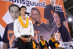Nonthaburi ,Thailand - March 10,2019 : Mr.Thanathorn juangroongruangkit,The leader of Future Forward Party FWP during in. Interview befor raised the stage to royalty free stock photo