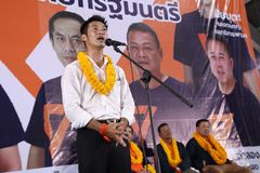 Nonthaburi ,Thailand - March 10,2019 : Mr.Thanathorn juangroongruangkit,The leader of Future Forward Party FWP during in. Interview befor raised the stage to stock photos