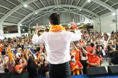 Nonthaburi ,Thailand - March 10,2019 : Mr.Thanathorn juangroongruangkit,The leader of Future Forward Party FWP during speak for. The campaign on th estage at stock photos