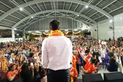 Nonthaburi ,Thailand - March 10,2019 : Mr.Thanathorn juangroongruangkit,The leader of Future Forward Party FWP during speak for. The campaign on th estage at stock images