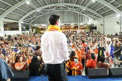Nonthaburi ,Thailand - March 10,2019 : Mr.Thanathorn juangroongruangkit,The leader of Future Forward Party FWP during speak for. The campaign on th estage at royalty free stock images