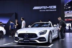 Nonthaburi THAILAND - mars 30, 2018: Ny Mercedes-AMG CLA 45 4MATIC på BANGKOK DEN MOTORISKA SHOWEN 2018 arkivfoton