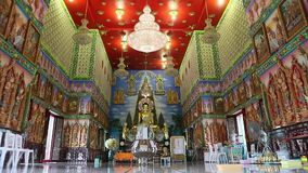 Magnificent ordination hall at Buddhist temple stock footage