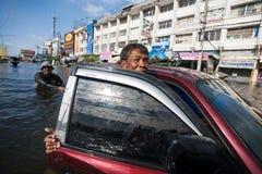 Nonthaburivloed in Thailand de 2011-levensstijl van mensen in mas Stock Foto's