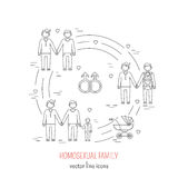 Nontraditional family. Line icons composition gay  homosexual couples. Vector illustration Royalty Free Stock Photo