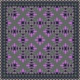 Nontrivial decorative abstract colorful square geometric floral pattern. Can be used as tile, shawl printing fabric, silk neck scarf, shawl design, decoration vector illustration