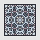 Nontrivial decorative abstract colorful square geometric floral pattern. Can be used as tile, shawl printing fabric, silk neck scarf, shawl design, decoration Stock Illustration
