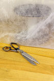 Nonwoven fabric still life with scissors Stock Photo
