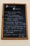 Nonza, menu, blackboard, jedzenie, miejscowy, tradycja, Haute Corse, Corsica, Górny Corsica, Francja, Europa, wyspa Fotografia Stock