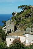Nonza village with sea view. Corsica Royalty Free Stock Images