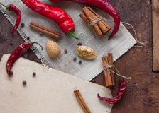 Food frame with spices on wood background. Flat lay, top view. Food background Stock Image