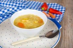 Noodle σούπα με τα καρότα και τα λαχανικά στο άσπρο κύπελλο Στοκ Φωτογραφίες