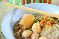 Noodle. Thai Noodle Soup with Meat stock photo