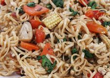 Noodle. Thai noodle macro with vegetables royalty free stock images