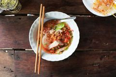 Noodle ancient. On the wood table.At Thailand Royalty Free Stock Image