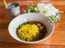 Noodle. Beef noodle in a restaurant in Thailand Stock Images