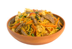 Noodle Beef Stir Fry. Noodle Beef Stirfry isolated on white background Stock Photography