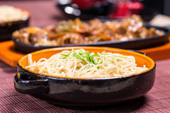Noodle with blackbean sause pork Royalty Free Stock Photography