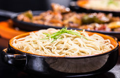 Noodle with blackbean sause pork Royalty Free Stock Photo