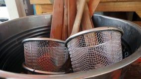 Noodle Boiling Basket Strainer Stock Image