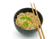 Noodle in the bowl with chopstick Royalty Free Stock Photography