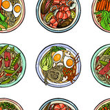 Noodle bowls pattern. Vector seamless pattern with hand drawn asian noodle bowls. Beautiful food design elements, perfect for any business related to the food Royalty Free Stock Images